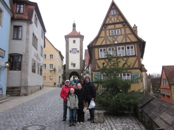 The family at the famous Plönlein in Rothenburg