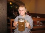 Melissa Pretending to drinkbeer