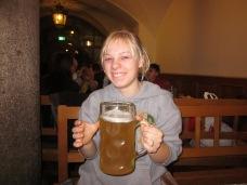 Melissa Pretending to drink beer